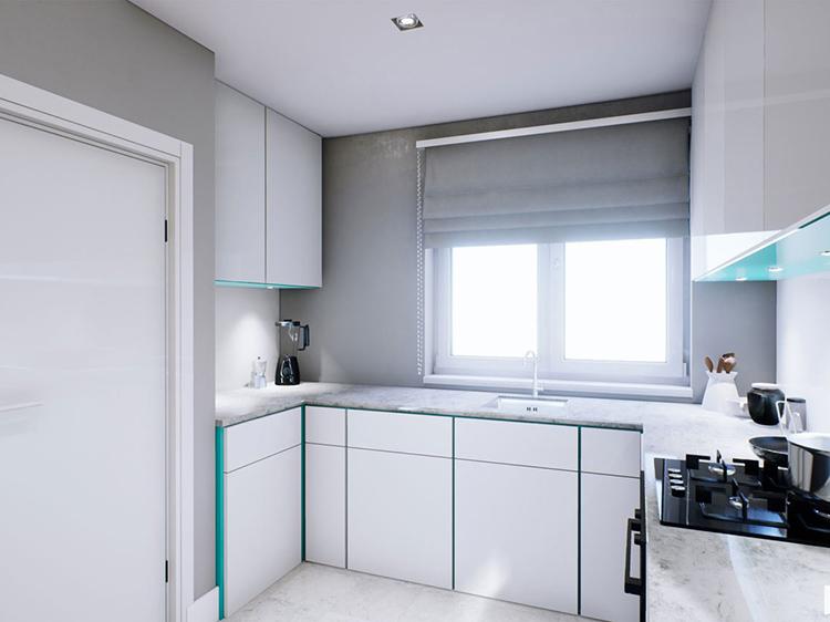 Phòng bếp tối giản của biệt thự
